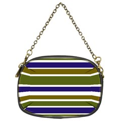 Olive Green Blue Stripes Pattern Chain Purses (one Side)  by BrightVibesDesign