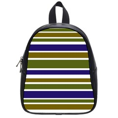 Olive Green Blue Stripes Pattern School Bags (small)  by BrightVibesDesign
