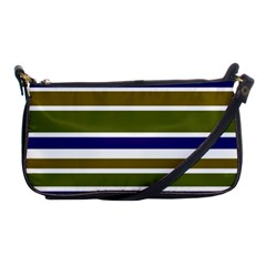 Olive Green Blue Stripes Pattern Shoulder Clutch Bags by BrightVibesDesign