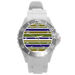 Olive Green Blue Stripes Pattern Round Plastic Sport Watch (l) by BrightVibesDesign
