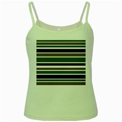 Olive Green Blue Stripes Pattern Green Spaghetti Tank by BrightVibesDesign
