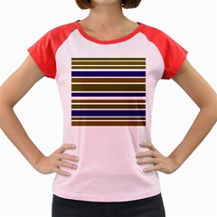 Olive Green Blue Stripes Pattern Women s Cap Sleeve T Shirt by BrightVibesDesign
