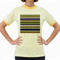 Olive Green Blue Stripes Pattern Women s Fitted Ringer T Shirts by BrightVibesDesign