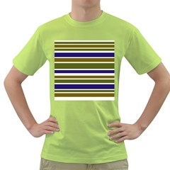 Olive Green Blue Stripes Pattern Green T-Shirt by BrightVibesDesign
