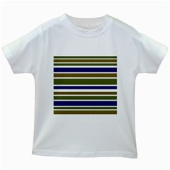 Olive Green Blue Stripes Pattern Kids White T Shirts by BrightVibesDesign
