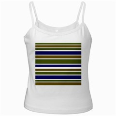 Olive Green Blue Stripes Pattern Ladies Camisoles by BrightVibesDesign