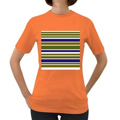 Olive Green Blue Stripes Pattern Women s Dark T Shirt by BrightVibesDesign