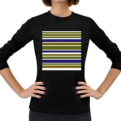 Olive Green Blue Stripes Pattern Women s Long Sleeve Dark T Shirts by BrightVibesDesign