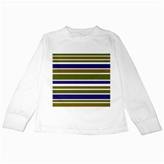 Olive Green Blue Stripes Pattern Kids Long Sleeve T Shirts by BrightVibesDesign