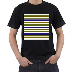 Olive Green Blue Stripes Pattern Men s T-Shirt (Black) by BrightVibesDesign