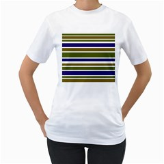 Olive Green Blue Stripes Pattern Women s T-Shirt (White)  by BrightVibesDesign
