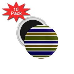 Olive Green Blue Stripes Pattern 1 75  Magnets (10 Pack)  by BrightVibesDesign
