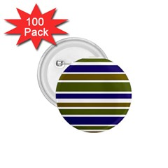 Olive Green Blue Stripes Pattern 1 75  Buttons (100 Pack)  by BrightVibesDesign
