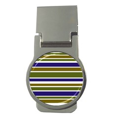 Olive Green Blue Stripes Pattern Money Clips (round)  by BrightVibesDesign