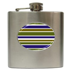 Olive Green Blue Stripes Pattern Hip Flask (6 Oz) by BrightVibesDesign