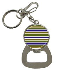 Olive Green Blue Stripes Pattern Bottle Opener Key Chains by BrightVibesDesign