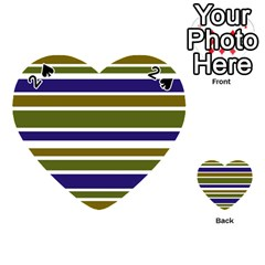 Olive Green Blue Stripes Pattern Playing Cards 54 (heart)  by BrightVibesDesign
