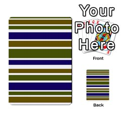 Olive Green Blue Stripes Pattern Multi-purpose Cards (Rectangle)  by BrightVibesDesign