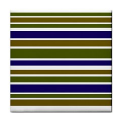 Olive Green Blue Stripes Pattern Face Towel by BrightVibesDesign