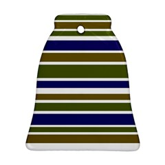 Olive Green Blue Stripes Pattern Ornament (Bell)  by BrightVibesDesign