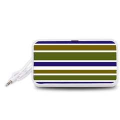 Olive Green Blue Stripes Pattern Portable Speaker (white)  by BrightVibesDesign