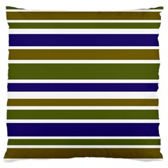 Olive Green Blue Stripes Pattern Large Cushion Case (Two Sides) by BrightVibesDesign