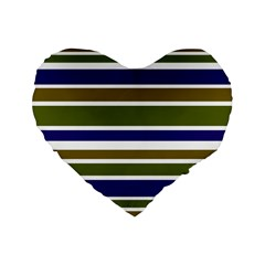 Olive Green Blue Stripes Pattern Standard 16  Premium Heart Shape Cushions by BrightVibesDesign