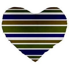 Olive Green Blue Stripes Pattern Large 19  Premium Heart Shape Cushions by BrightVibesDesign