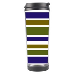 Olive Green Blue Stripes Pattern Travel Tumbler by BrightVibesDesign