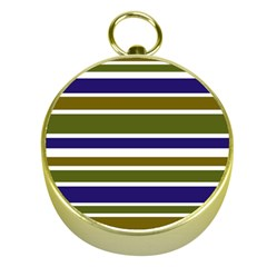 Olive Green Blue Stripes Pattern Gold Compasses by BrightVibesDesign