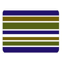 Olive Green Blue Stripes Pattern Double Sided Flano Blanket (large)  by BrightVibesDesign