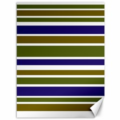 Olive Green Blue Stripes Pattern Canvas 36  X 48   by BrightVibesDesign