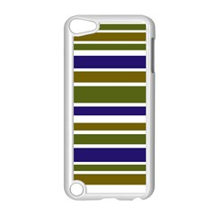 Olive Green Blue Stripes Pattern Apple Ipod Touch 5 Case (white) by BrightVibesDesign
