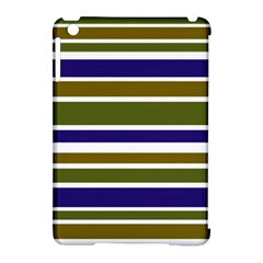 Olive Green Blue Stripes Pattern Apple iPad Mini Hardshell Case (Compatible with Smart Cover) by BrightVibesDesign