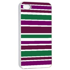 Purple Green Stripes Apple Iphone 4/4s Seamless Case (white) by BrightVibesDesign