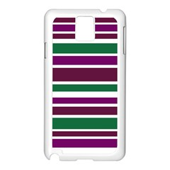 Purple Green Stripes Samsung Galaxy Note 3 N9005 Case (white) by BrightVibesDesign