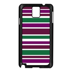 Purple Green Stripes Samsung Galaxy Note 3 N9005 Case (black) by BrightVibesDesign