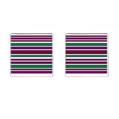 Purple Green Stripes Cufflinks (Square) by BrightVibesDesign