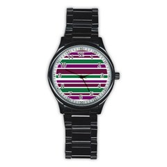 Purple Green Stripes Stainless Steel Round Watch by BrightVibesDesign