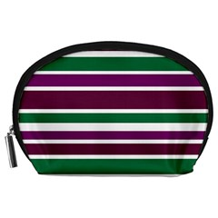 Purple Green Stripes Accessory Pouches (Large)  by BrightVibesDesign