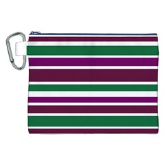 Purple Green Stripes Canvas Cosmetic Bag (XXL)  by BrightVibesDesign