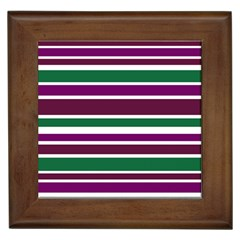 Purple Green Stripes Framed Tiles by BrightVibesDesign