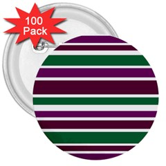 Purple Green Stripes 3  Buttons (100 Pack)  by BrightVibesDesign