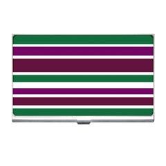 Purple Green Stripes Business Card Holders by BrightVibesDesign