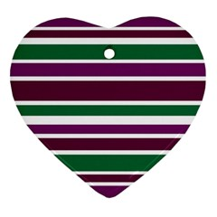 Purple Green Stripes Heart Ornament (2 Sides) by BrightVibesDesign