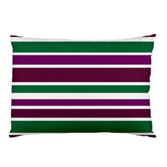 Purple Green Stripes Pillow Case (two Sides) by BrightVibesDesign
