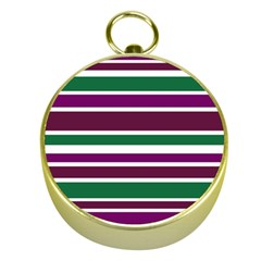 Purple Green Stripes Gold Compasses by BrightVibesDesign