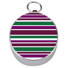 Purple Green Stripes Silver Compasses by BrightVibesDesign