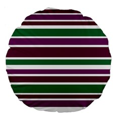 Purple Green Stripes Large 18  Premium Flano Round Cushions by BrightVibesDesign