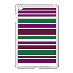 Purple Green Stripes Apple Ipad Mini Case (white) by BrightVibesDesign